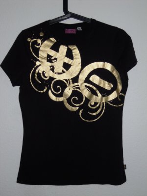 T-shirt schwarz mit goldfarben Aufdruck v. Chiemsee Plusminus