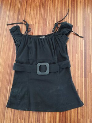 T-Shirt schwarz mit Gürtel, 34
