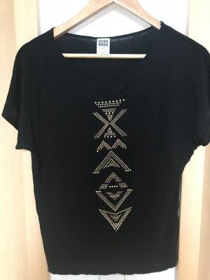 T-Shirt schwarz mit Muster (gold)