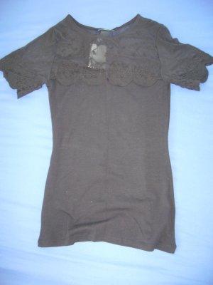 T-Shirt schwarz mit Spitze Ausschnitt+Ärmel neu Etikett H&M XS 34