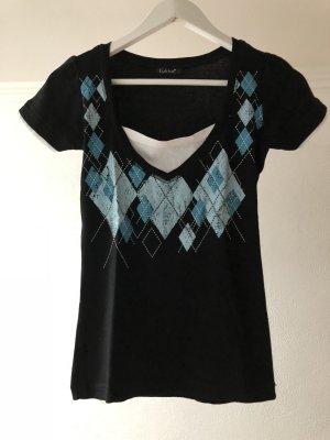 T-Shirt, schwarz mit türkisem Muster
