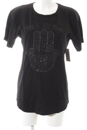 T-Shirt schwarz Motivdruck Street-Fashion-Look