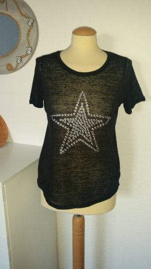 T-Shirt schwarz Nieten Stern Gr. 38 NEU