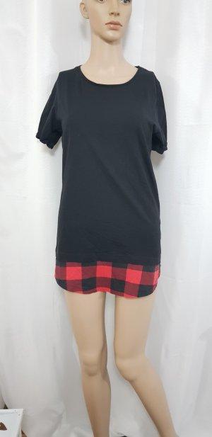 t-shirt schwarz rot kariert