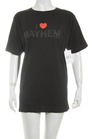 T-Shirt schwarz-rot Schriftzug gedruckt Casual-Look