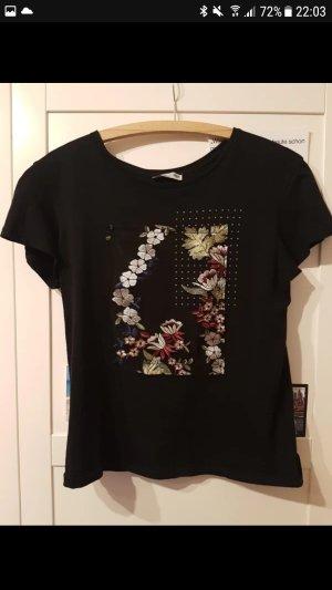 T-Shirt schwarz Stickerei bunt netz Steinchen