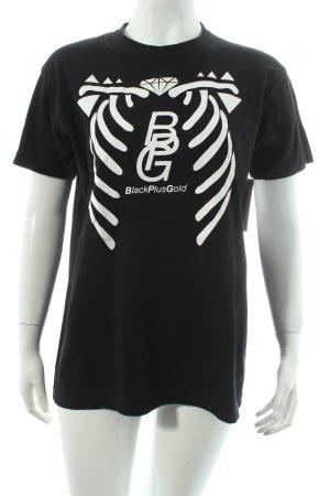 T-Shirt schwarz-weiß abstrakter Druck Street-Fashion-Look