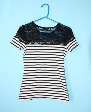 T-Shirt Schwarz Weiß gestreift mit Spitze