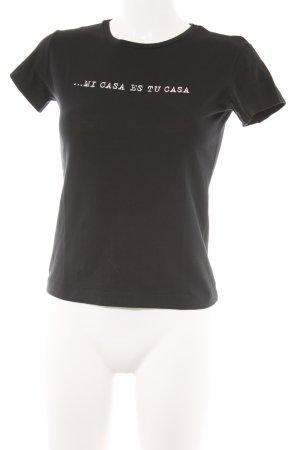 T-Shirt schwarz-weiß Schriftzug gedruckt Casual-Look