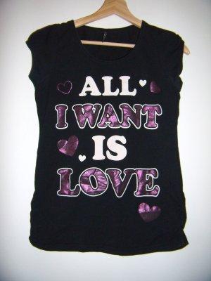 T-Shirt schwarz weiß violett