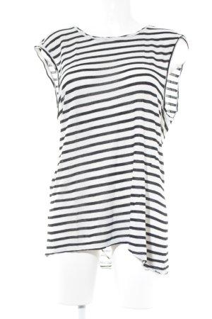 T-Shirt schwarz-wollweiß Streifenmuster Casual-Look