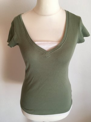 T-Shirt Shirt Basic 2-in-1 hellgrün weiß Gr. 38 TOP