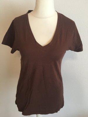 T-Shirt Shirt Basic braun Prit am Rücken V-Neck locker oversized Gr. S