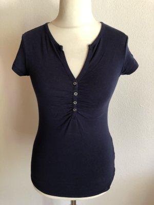 T-Shirt Shirt Basic dunkelblau mit Knopfleiste Gr. 38
