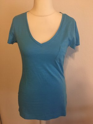 T-Shirt Shirt Basic royal blau hellblau V-Neck Gr. S