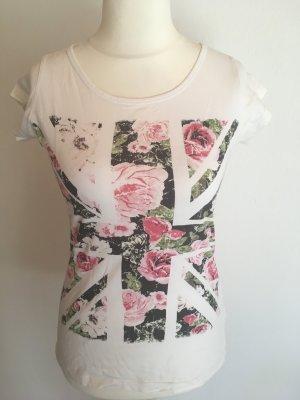 T-Shirt Shirt Basic weiß mit Print Blumen Gr. XS