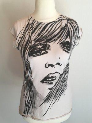 T-Shirt Shirt Basic weiß mit Print Gr. M