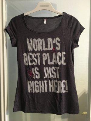 T-Shirt Shirt Blogger dunkelgrau mit Print Gr. XS