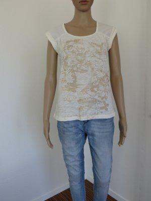 T-Shirt, Shirt, Créme, Weiß, goldfarben