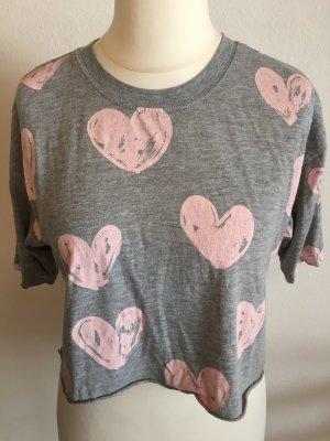 T-Shirt Shirt cropped süss mit Herzchen Gr. S ZARA