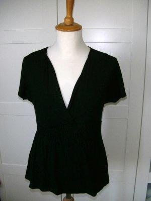 T-Shirt, Shirt, kurzarm, Babydoll, schwarz H&M, Gr. S