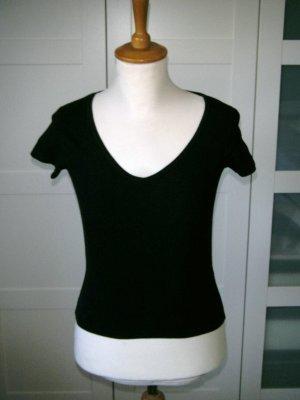 T-Shirt, Shirt, kurzarm, kurzärmliges Shirt, V-Ausschnitt, schwarz, Gr. 34/36