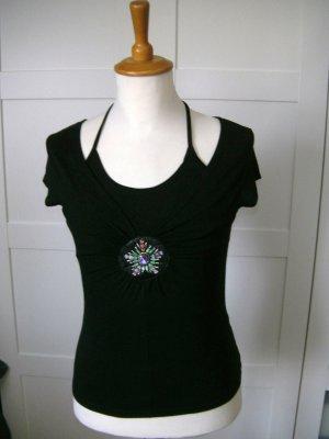 T-Shirt, Shirt, kurzarm, Perlen, schwarz, Melrose, Gr. 36