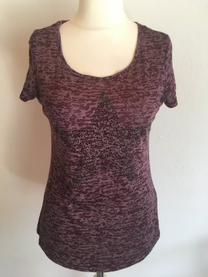 T-Shirt Shirt leicht locker lila mit Strass Gr. 38