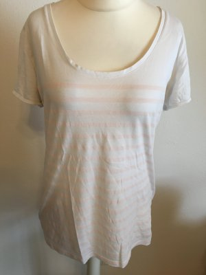T-Shirt Shirt locker weiß rosgtreift Maison scotch Basic