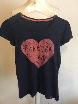 T-Shirt Shirt mit Print Basic dunkelblau Gr. XS