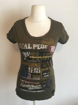 T-Shirt Shirt mit Print khaki Basic Gr. S TOP