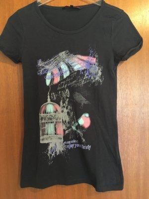 T-Shirt Shirt mit Print schwarz Baumwolle Gr. XS
