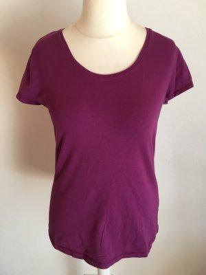 T-Shirt Shirt Oberteil Basic Rundhals lila brombeere Gr. L TOP