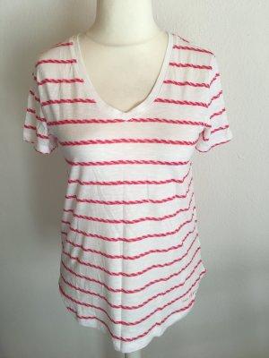 T-Shirt Shirt Oberteil Baumwolle weiß gestreift rot Gr. S Hilfiger NEU