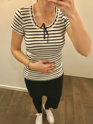 T-Shirt Shirt Oberteil gestreift mit Spitze Schleife kurzärmlig Rippenshirt