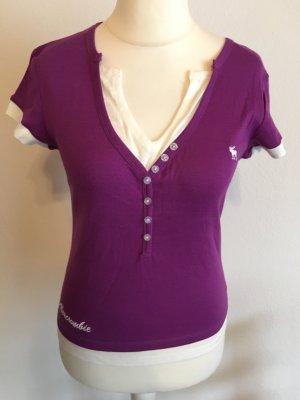 T-Shirt Shirt Oberteil lila weiß 2-in1 Abecrombie