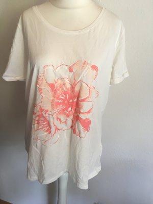 T-Shirt Shirt Oberteil locker oversized weiß mit Print Gr. L NEU