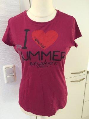 T-Shirt Shirt Oberteil pink brombeere S.Oliver mit Print