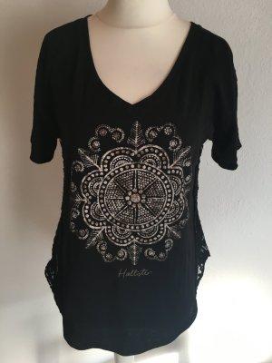 T-Shirt Shirt Oberteil schwarz mit Aztekenmuster und Spitze Gr. M Hollister