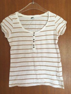 T-Shirt Shirt Oberteil weiß gold gestreift Basic Gr. XS