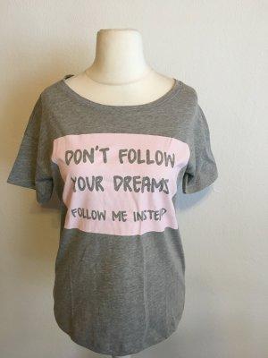 T-Shirt Shirt Statement Blogger grau rosa Gr. M NEU