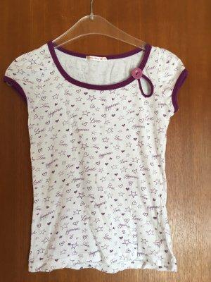 T-Shirt Shirt süß mit Print weiß lila Gr. S TOP