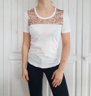 T-Shirt Shirt tshirt weiß Gold pailetten Glitzer crop top croptop S Oberteil hemd Bluse pulli pullover