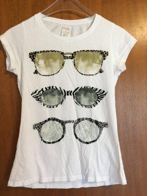 T-Shirt Shirt weiß mit Print süß Zara Gr. S TOP