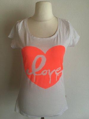 T-Shirt Shirt weiß neon orange mit Print Gr. M S.Oliver