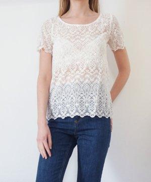 T-Shirt Spitze Logg H&M creme weiß