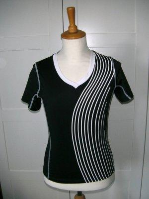 T-Shirt, Sportshirt, Funktionsmaterial, schwarz, weiß, Gr. S