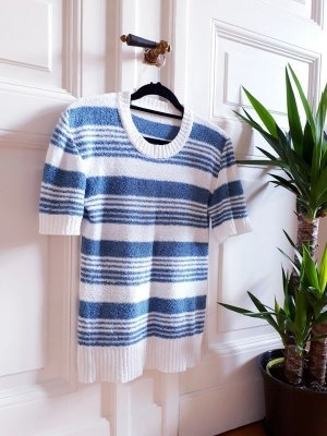 Vintage Short Sleeve Sweater white-cornflower blue
