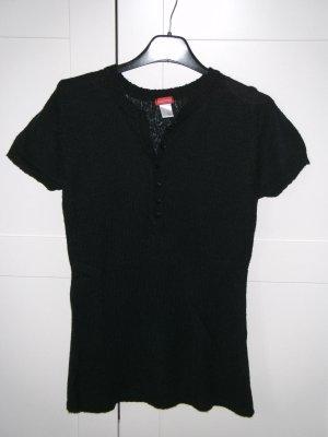 T-Shirt, Strickshirt, Longshirt, Castro, schwarz, Gr. 32/34