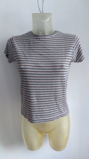 T-Shirt Stripes Brandy Melville Schwarz Braun Weiß One Size